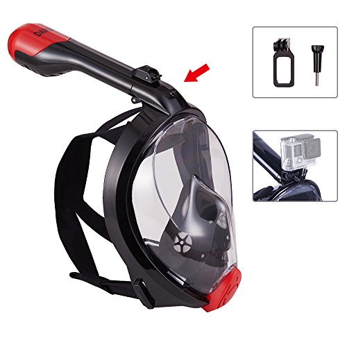 View Support (DAXGD Snorkeling Full Face Diving Mask, 180 Degree View, Anti-Fogging and Anti-Leaking with Detachable Support Frame for Action Camera(L/XL))