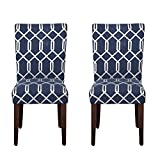 HomePop Navy Blue Cream Lattice Elegance Parson Chairs (Set of 2) For Sale