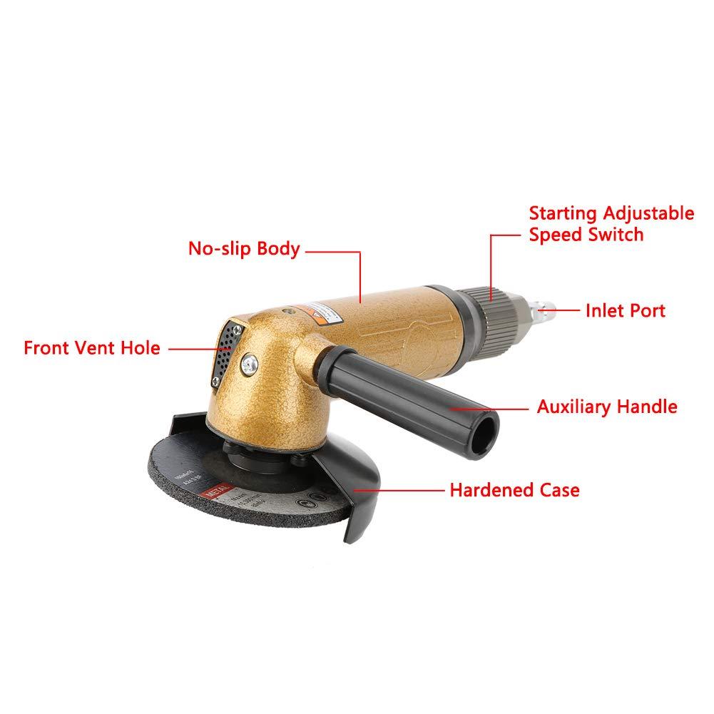 Amoladora de /ángulo Pulido neum/ático Pulido Herramienta 11000 rpm Amoladoras angulares Akozon Lijadora de /ángulo de lijar 4 pulgada
