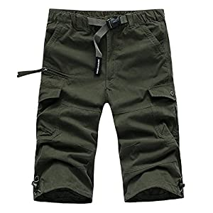 Leward Men's Casual Twill Elastic Cargo Shorts Loose Fit Multi-Pocket Capri Long Shorts