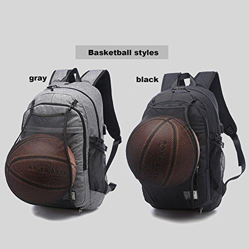 gohigh Business resistente al agua mochila para portátil con USB puerto de carga para para debajo de 17pulgadas de Notebook y Tablet, multifuncional bolsa de viaje con red de baloncesto mochila para  gris