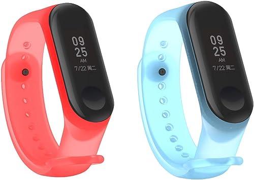 HereMore 2PCS Pulsera Xiaomi Mi Band 3 Correas de Repuesto para Reloj, Colorido Suave Silicona Transparente Recambio Brazalete Banda Extensibles Correa Reemplazo para Xiaomi Mi Band 3, Rojo, Azul: Amazon.es: Deportes y