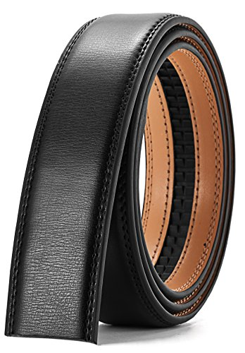 "- Men's Leather Ratchet Belt Strap Only 35mm 1 3/8"",Leather Belt without Buckle (TP Leather Black, 28-42'' Adjustable)"