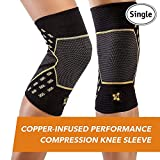 CopperJoint - Copper-Infused Performance Compression Knee Sleeve, Promotes Increased Blood Flow to The Knee and Provides Enhanced Compression and Support for Athletes, Single Sleeve (Medium)