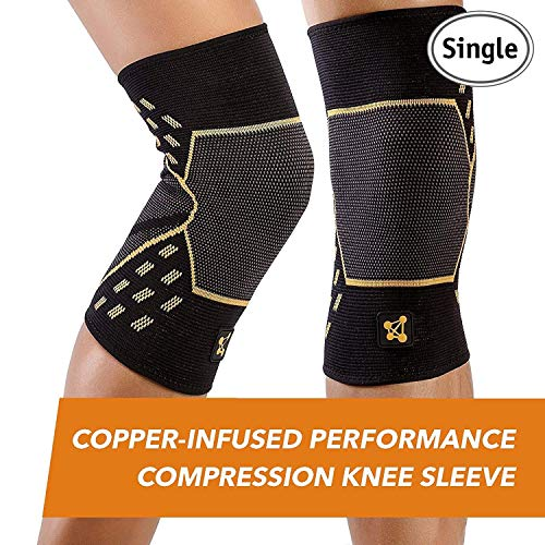 CopperJoint - Copper-Infused Performance Compression Knee Sleeve, Promotes Increased Blood Flow to The Knee and Provides Enhanced Compression and Support for Athletes, Single Sleeve (XX-Large)