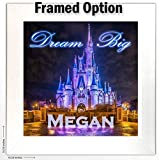 Personalized Girls or Boys Room Wall Art -''Dream Big'' - Disney's Cinderella Castle Print Customized With Your Child's Name