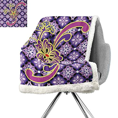 - ScottDecor Batik Flannel Bed Blankets,Macro Flower Petals on Foreground Chained Bound Ethnic Shapes Batik Graphic Design,Purple Yellow,Lightweight Thermal Blankets W59xL31.5 Inch