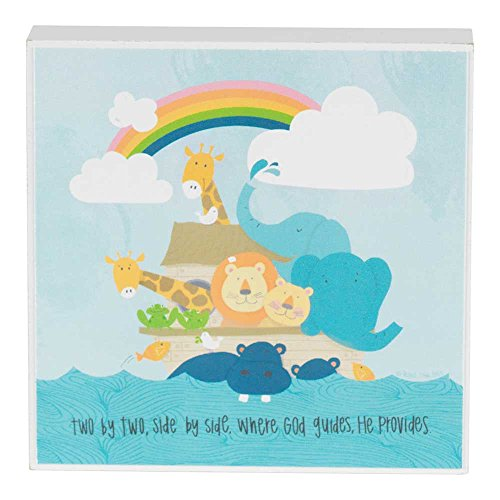 Dicksons Two By Two Whimsical Noah's Ark Light Blue 4 x 4 Wood Wall Sign Plaque