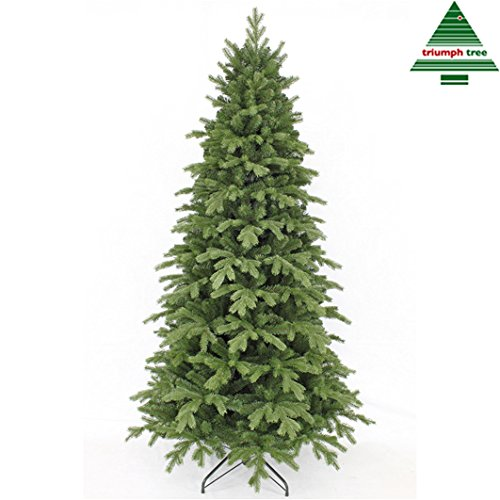 Triumph Tree Kunst-Tanne & 039;Sherwood Spruce Slim Line& 039; grün - Höhe 155 cm, 91 cm Durchmesser - naturgetreuer Weihnachtsbaum - künstlicher Weihnachtsbaum mit 764 Zweigen