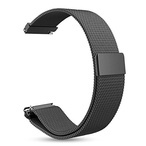 Fintie for Gear Sport/Galaxy Watch 42mm Band, 20mm Milanese Loop Adjustable Stainless Steel Replacement Strap Wrist Bands for Samsung Galaxy Watch 42mm, Gear Sport / S2 Classic Smartwatch, Black