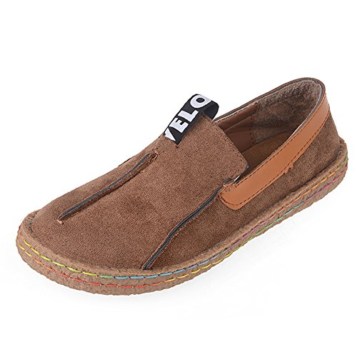 LUXUR Penny Loafer Slip-on Walking Shoes Casual Running Walking Flat Women Brown Size 8