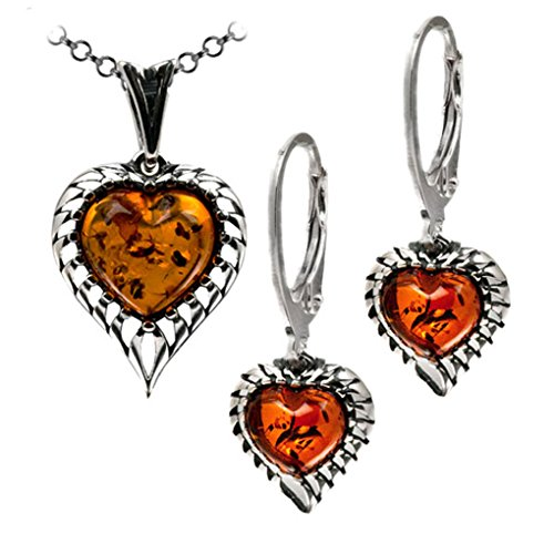 (Sterling Silver Amber Heart Earrings and Pendant Chain Set 18 Inches)