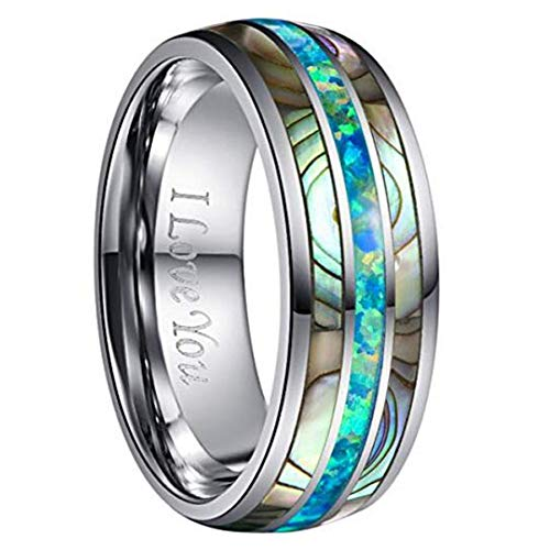 NUNCAD Marine Opal and Abalone Shell Inlay Tungsten Carbide Ring Polished Finish Engraved I Love You Size 6 ()