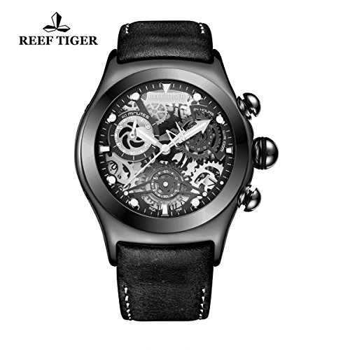ph Sport Watch with Date Black Steel Skeleton Dial Luminous Watches RGA792 (Tigers Ladies Sport Steel Watch)
