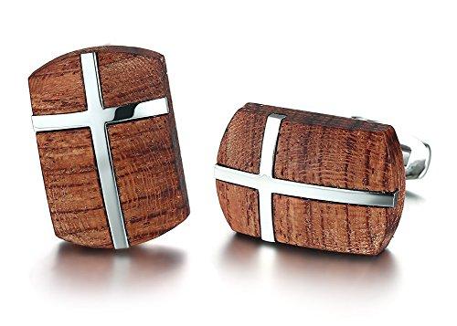 - African Bubinga Wooden & Stainless Steel Cross Men's Wedding Wood Cufflinks, Bussiness Gift