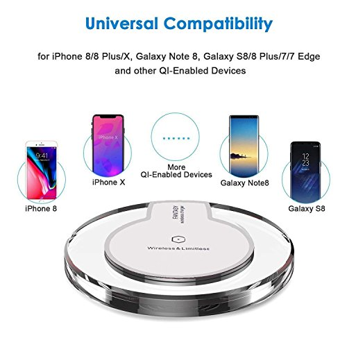 [2018 Upgraded] Wireless Charger Charging Pad for Samsung Note 8, S9/S8/S8 Plus/S7/S7 Edge/S6, Apple iPhone 8/8 Plus, iPhone X, Nexus 7/6/5/4(2013), Nokia Lumia 920, LG Optimus Vu2, and More by decool (Image #2)