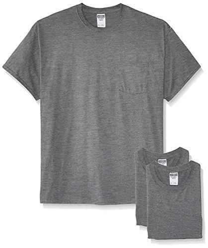 (Jerzees Men's White Adult Short-Sleeve Pocket T-Shirts (3-Pack), Oxford, 4X)