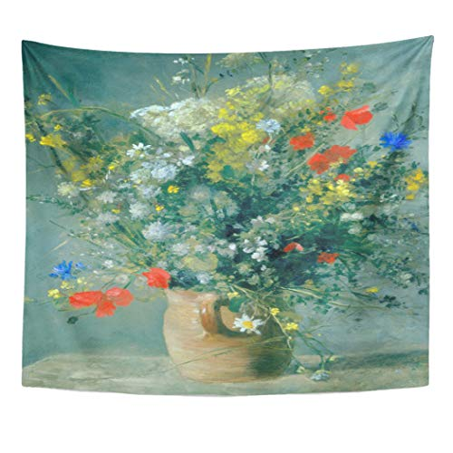 (Semtomn Tapestry Artwork Wall Hanging August Flowers in Vase Renoir Fine Wildflowers Floral Impressionism 50x60 Inches Tapestries Mattress Tablecloth Curtain Home Decor Print)