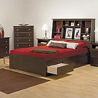 Prepac Manhattan Full Tall Bookcase Platform Storage Bed in Espresso