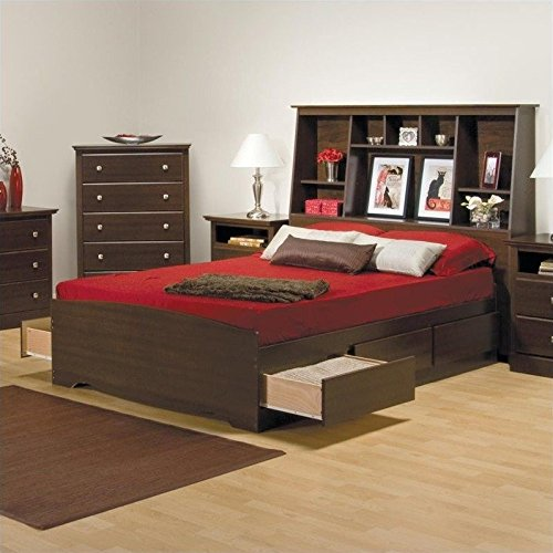 Prepac Manhattan Full Tall Bookcase Platform Storage Bed in - Drawer 12 Platform Storage