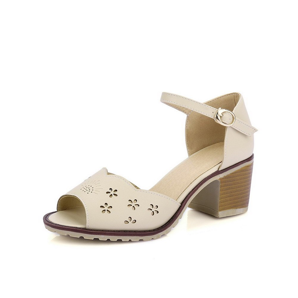 AllhqFashion Women's PU Solid Buckle Kitten Heels Peep Toe Sandals, Beige, 38