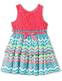 Toddler Girls Sleeveless Zig Zag Dress-2T,CORAL Multi-Colored