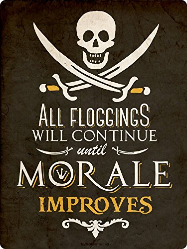 All Floggings will Continue Until Moral Improves ~ Pirate Decor ~ 12 x 16 Inch 24-Gauge Metal Sign ~ Bar Accessories & Wall Decorations ~ USA Made ~ Vintage Distressed Look (RK1041ST_12x16)