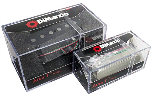 DiMarzio Area T Neck / Bridge Pickup Set for Fender Tele Telecaster, Black/Chrome (Hum Canceling Strat Pickup)