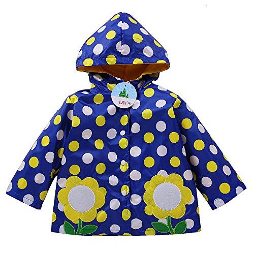 LZH Girls Kids Raincoat Jacket Outerwear Children Waterproof Clothes