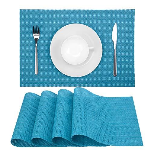Zupro Placemats, Heat-Resistant Placemats Stain Resistant Anti-Skid Washable PVC Table Mats Woven Vinyl Placemats, Set of 4(4pcs placemats,Blue) (Placemats Basketweave)