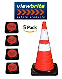 ViewBrite Safety Collapsible Traffic Cone 28'' - LED Lighted Collapsible Safety Cone 28'' - Heavy Black Rubber Base [5 PACK]