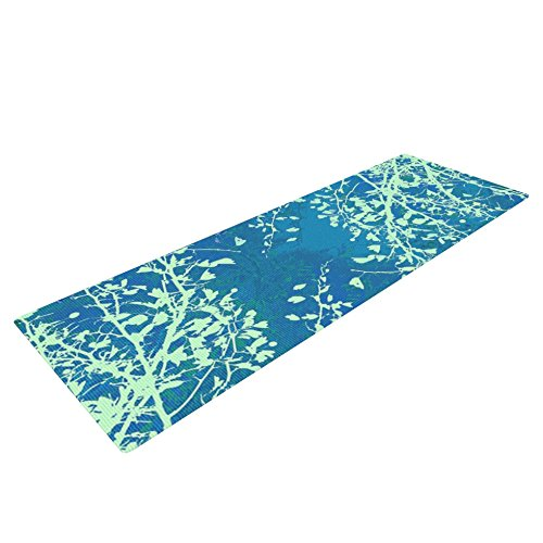 Kess InHouse Iris Lehnhardt ''Twigs Silhouette Teal'' Yoga Exercise Mat, Aqua/Green, 72 x 24-Inch by Kess InHouse