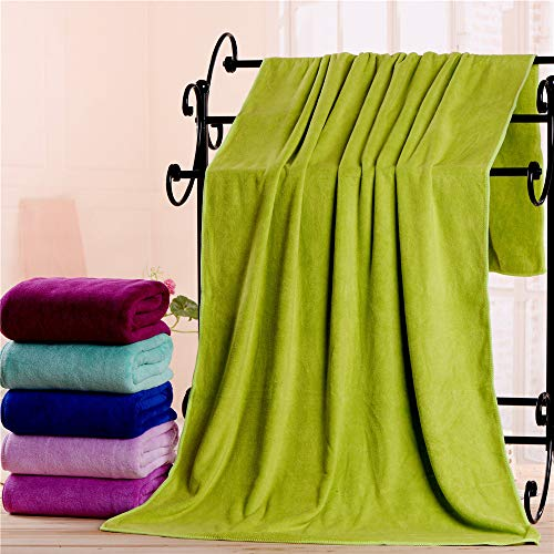LHbox Tap Bath Towel 80180 Large Towel Water Absorption is Not Off Hair, Fluorescent Green ()
