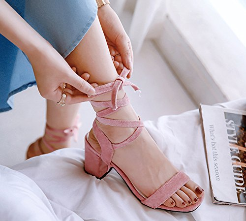 Fête Spécial Chunky Rose Aisun Sandales Lacée Femme Moyen Ajourer Demoiselle Talon 1wA58Fq