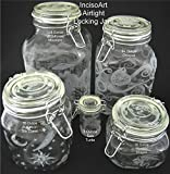 IncisoArt Hand Etched Glass Jar Airtight Canister Sandblasted (Sand Carved) Handmade Engraved Locking Wire Clamp Lid (64 Ounce, Forest Mountain Animal Combo)