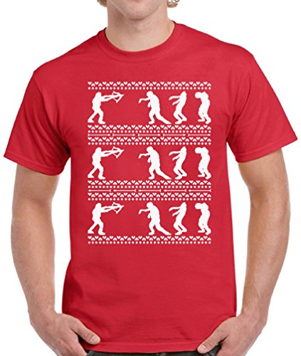 Walking Dead Costumes For Couples (Vizor Walking Dead Christmas Shirts For Men Ugly Christmas Tshirt For Men Red S)