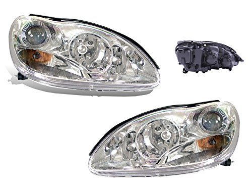 SPPC Projector Headlights Chrome Assembly Set with Halo For Mercedes-Benz S Class W220 - (Pair) Driver Left and Passenger Right Side Replacement Headlamp