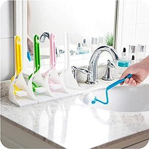 UNAKIM-- Portable Toilet Brush Scrubber V-type Cleaner Clean Brush Bent Bowl Handle X.