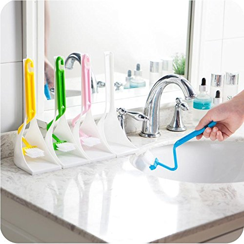 4 PCs Multi-functional Toilet Brush Scrubber V-type Cleaner Clean Brush Bent Bowl Handle Tool - Sigma Pressure Tub