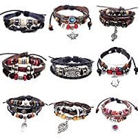 9 PCS Mens Womens Multi Layers Leather Wrap Cuff Bracelet, Braided Anchor Bangle,Charm Cuff Bangles Adjustable Fit 6-9 Inches