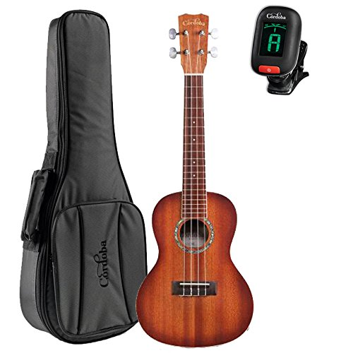 Cordoba 15CM-E Sunburst Acoustic Electric Concert Ukulele With Cordoba Deluxe Gig Bag and Tuner by Cordoba