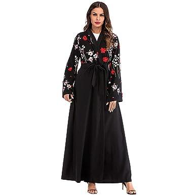 df98aadd79c42 Amazon.com: TIFENNY Women Vintage Embroidery Print Ethnic Robes ...