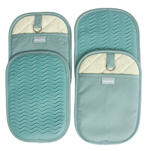 Honla 4 Piece Rectangular Pot Holders with Pockets,Heat Resistant to 500 F,Flexible Non Slip Silicone Grip Hot Pads,Teal