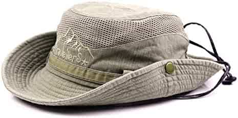 ded10af5c KeepSa Sun Hat for Men, Cotton Embroidery Summer Outdoor Sun Protection Wide  Brim Bucket Hat