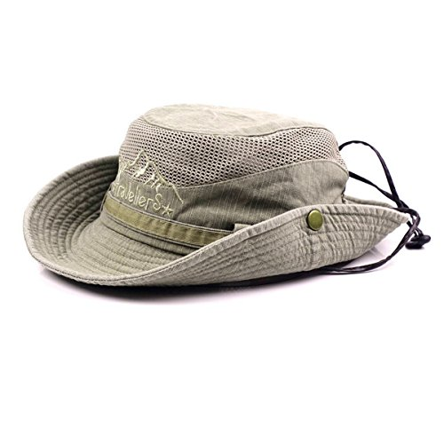 KeepSa Sun Hat for Men, Cotton Embroidery Summer Outdoor Sun Protection Wide Brim Bucket Hat Foldable Safari Boonie Hat Khaki