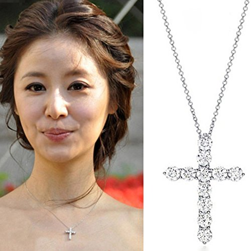 (Generic s925 sterling silver diamond -studded_ cross necklace pendant clavicle simple fashion jewelry temperament fashion _religious_totem_ gift)
