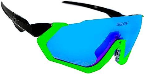 Gafas ciclismo hombre. Polarizadas Flight Jacket. 4 Lentes intercambiables,antivaho, resistentes a impactos.Protección UV400. Ideales para Running, Esquí, Golf, mtb, Triatlon, Ciclismo (Amarillo): Amazon.es: Deportes y aire libre