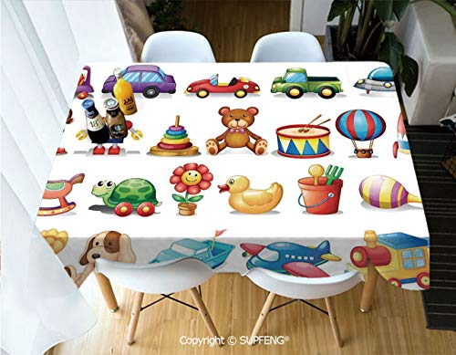 (Rectangular tablecloth Cartoon Toys Print Drum Rocking Horse Plane Robot Carsken Teddy Bear Art Pattern (60 X 84 inch) Great for Buffet Table, Parties, Holiday Dinner, Wedding & More.Desktop decorati)