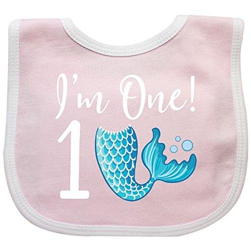 - Inktastic - 1st Birthday Girls Mermaid Party Baby Bib Pink/White 2c57c