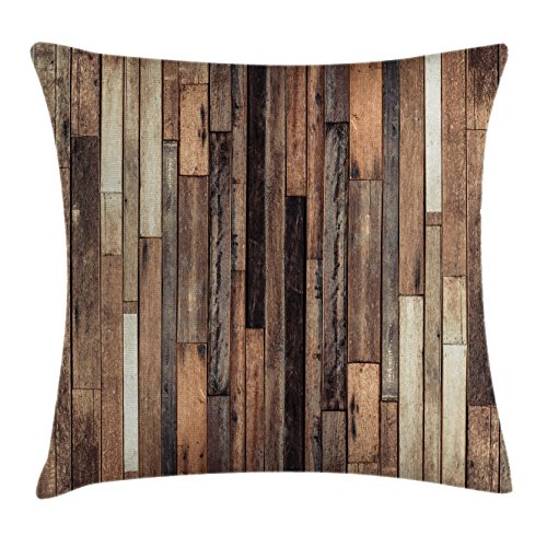 Ambesonne Wooden Throw Pillow Cushion Cover, Brown Old Hardwood Floor Plank Grunge Lodge Garage Loft Natural Rural Graphic Artsy Print, Decorative Square Accent Pillow Case, 20 X 20 Inches, Brown ()